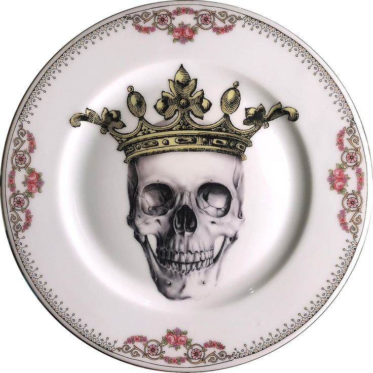 Skeletor King - Skull - Vintage Porcelain Plate - #0584 by ArtefactoStore on Etsy