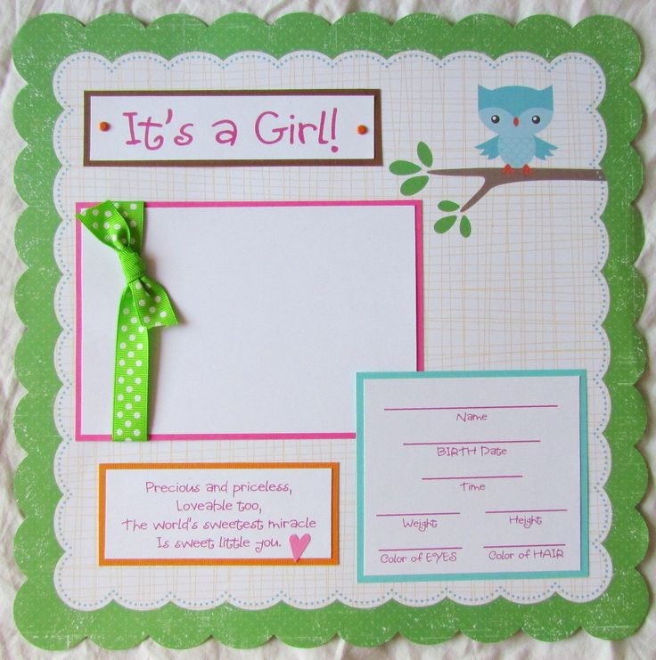 IT'S A GIRL baby 12x12 Premade Scrapbook Page. $9.00, via Etsy.