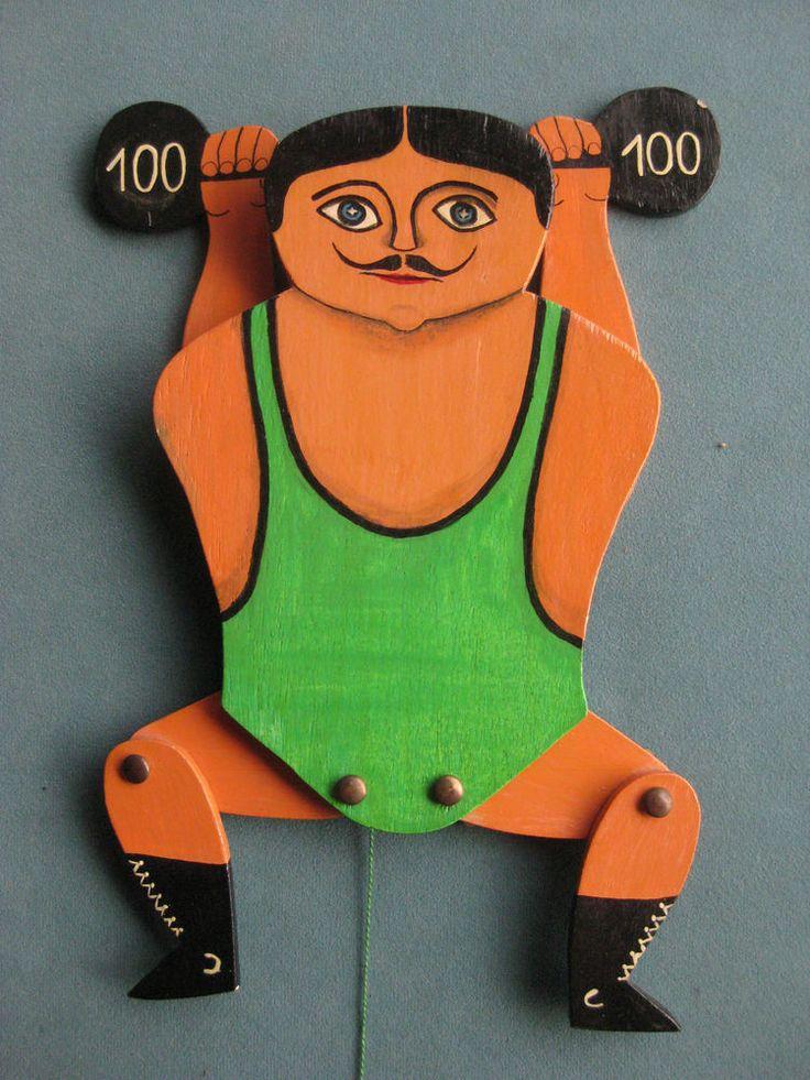 Gewichtheber als Hampelmann, starker Mann, Kunsthandwerk