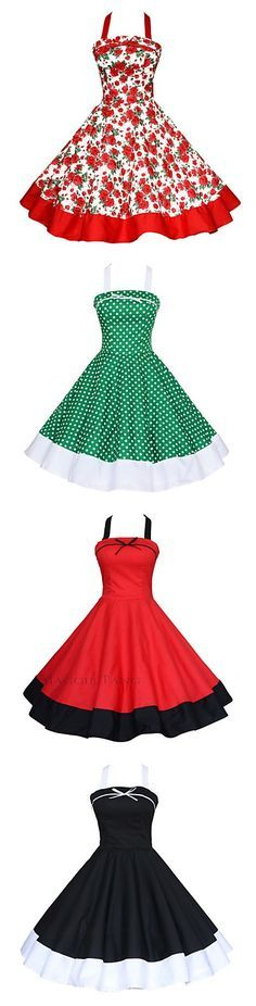 Rockabilly, retro, 50s, vintage -  whatever you want to call it, this dress is to die for! 4 colors/prints available!
