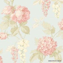 Papel de parede Decoração Floral Origini 26-29, Wallpaper, Importado, Lavável, Superfície lisa, Azul, Rosa e Bege