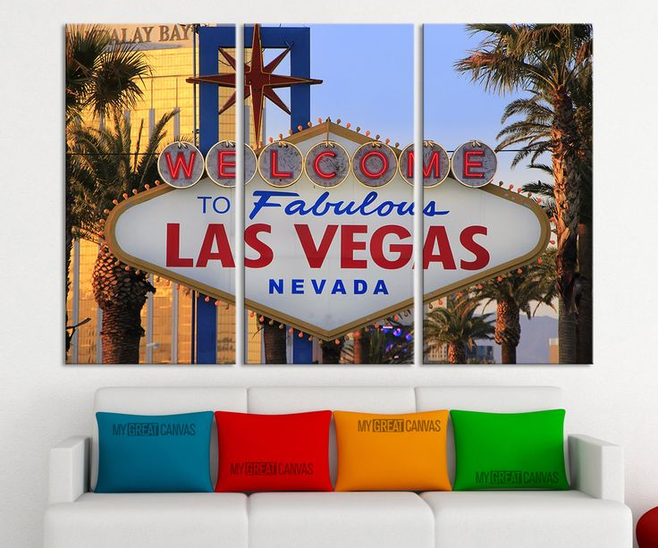 Large Wall Art Canvas Print Las Vegas City Sign 3 Piece Wall Canvas Art Print - Framed - Giclee Print