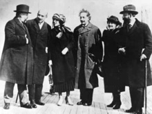 Albert Einstein, seen here with his wife Elsa Einstein and Zionist leaders, including future President of Israel Chaim Weizmann, his wife Dr. Vera Weizmann, Menahem Ussishkin, and Ben-Zion Mossinson on arrival in New York City in 1921.