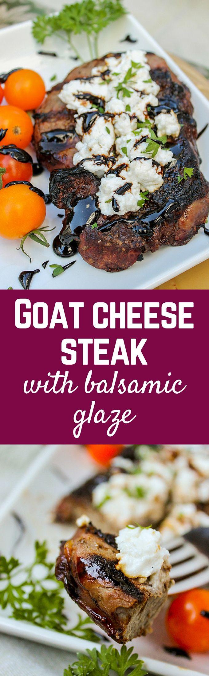 Goat Cheese Steak with Balsamic Glaze