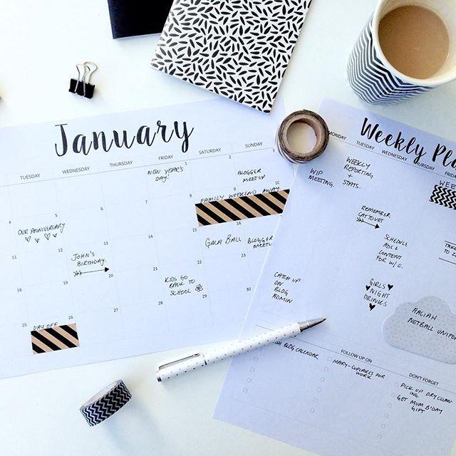 FREE Printable Calendar 2016 & Weekly Planner Printable: