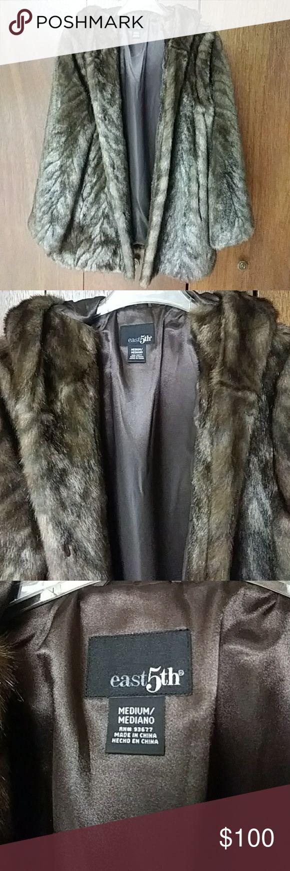 East 5th Brown Faux Fur Coat Faux fur coat, Brown faux