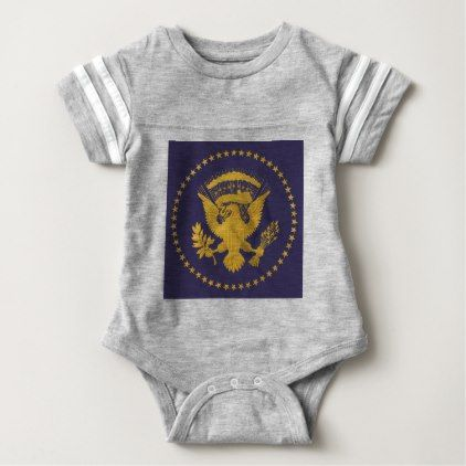 Gold Presidential Seal on Blue Ground Baby Bodysuit - gold gifts golden customize diy