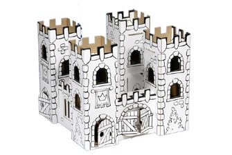 Colour in cardboard castle - have fun building the castle with no need for glue, and then fold it away flat when not in use. Very well made so can be played with by generations of kids, and recycled at end of life. The kit contains 12 felt tip pens for colouring in. £12.95
