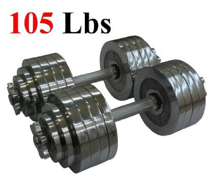 One Pair of Adjustable Dumbbells Chrome Plated Metal Total 105 Lbs (2 X 52.5 Lbs) - http://adjustabledumbbellstoday.com/one-pair-of-adjustable-dumbbells-chrome-plated-metal-total-105-lbs-2-x-52-5-lbs/