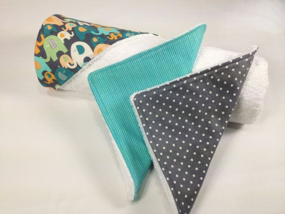 Baby Hooded Towel and Wash Cloths Set  Gray Teal by TinyLittleDots, $22.00