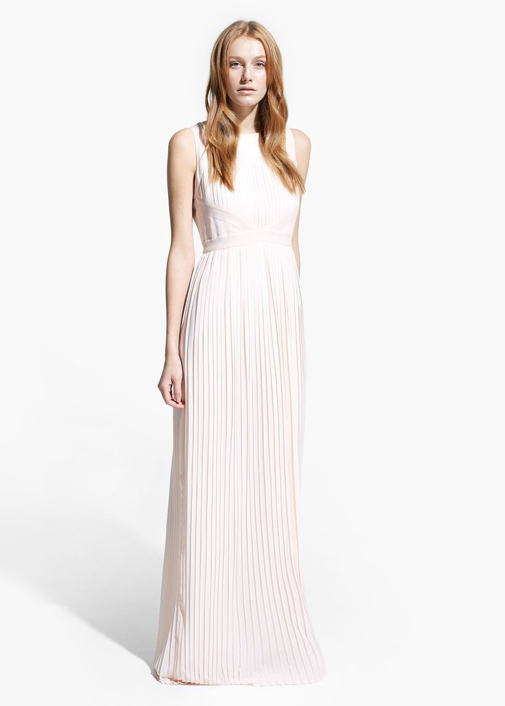 Long pleated dress - Women | MANGO