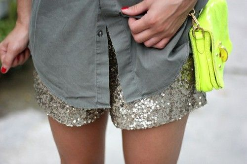 Sequin shorts.: Glitter Shorts, Neon Bags, Diy Fashion, Sparkly Shorts, Clothing, Casual Shirts, Sequins Shorts, Sparkle Shorts, Neon Yellow