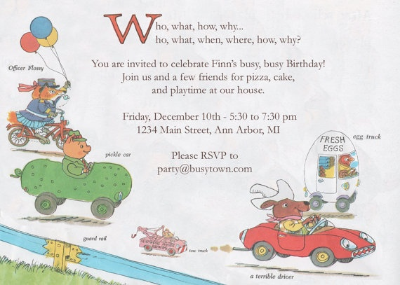 18 best Richard Scarry images on Pinterest Richard scarry - fresh birthday invitation from a kid