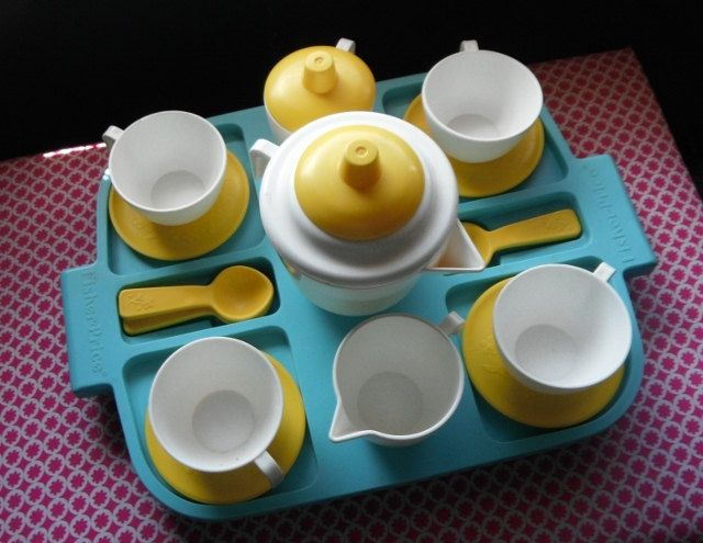 Fisher Price  Fun with Food Tea Set Yellow White Flowers  1980s. $20.00, via Etsy.