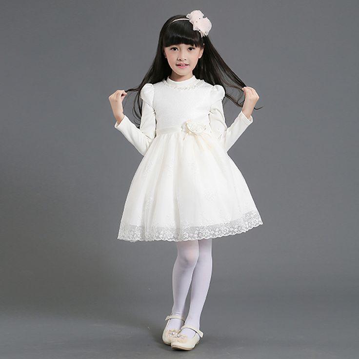 2016 Новый Маленькая Девочка Добби Платье Дети Детские Платья Для Свадьбы Белый Розовый Vestidos Здоровые Ткани ТК Внутренний
