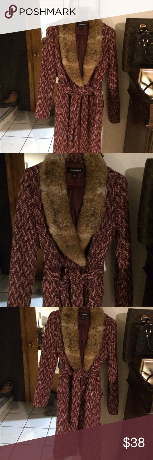 long coat tweed fur trench Beautiful long fur coat trench tweed. Price is firm. Club Monaco Jackets & Coats Trench Coats