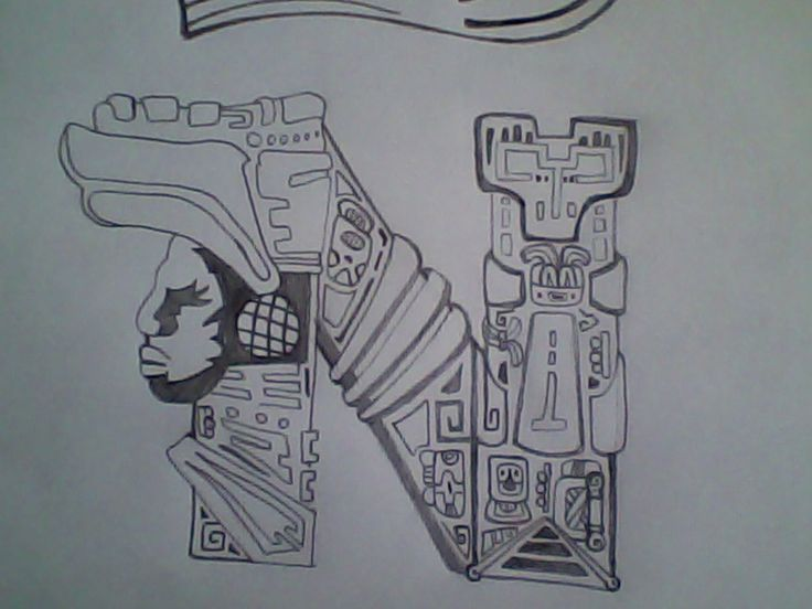 Letra con  simbología Maya. creador Gerald Velasquez.