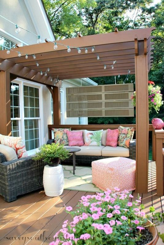 pergola and cushy furniture and accessories.