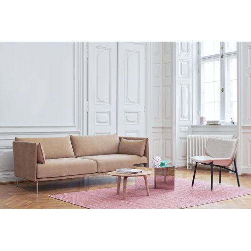 Hay S Silhouette 3 Seater Sofa In Beige And Chrome Round Slit Side