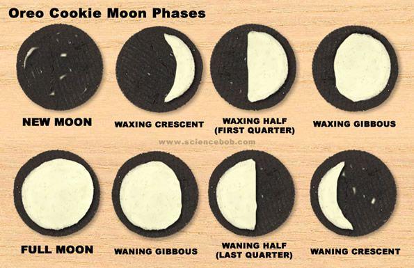 Fases de la Luna explicadas con una galleta oreo.