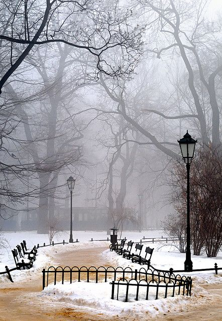 Snow on the Planty in Krakow