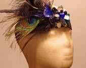 Proud as a Peacock, festival headband, feathers, jewels, head piece