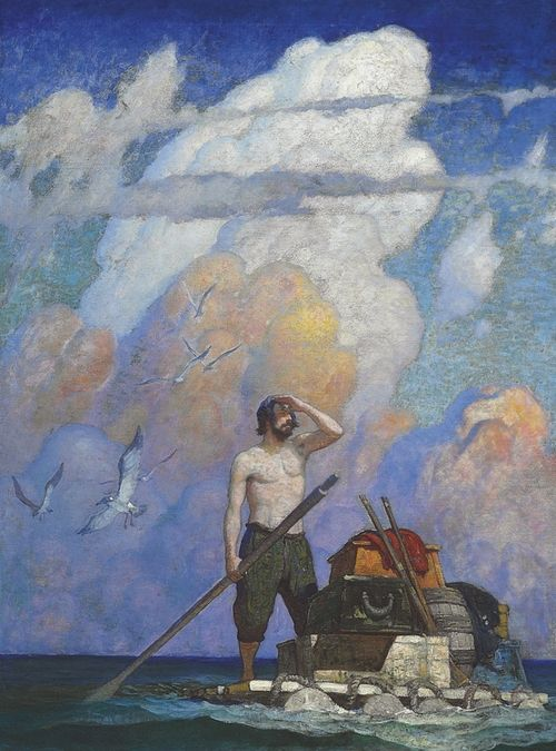 "shear-in-spuh-rey-shuhn:    N.C. WYETH""For a mile, or thereabouts, my raft went very well—,""  - Robinson CrusoeOil on Canvas40.5"" x 30 in"""