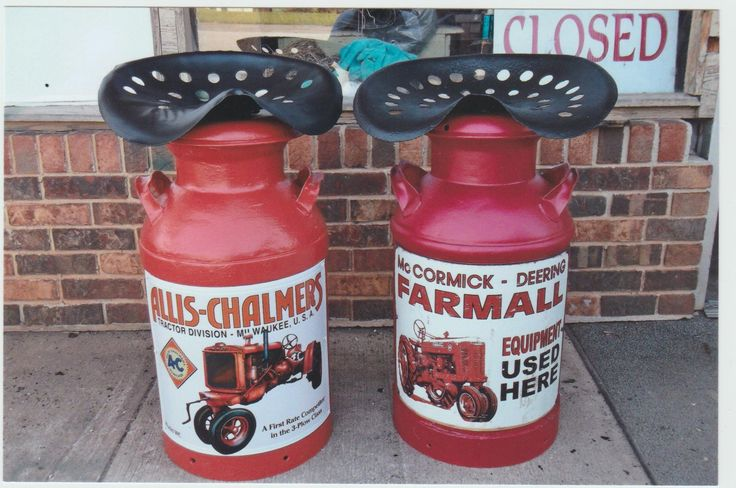 Old Milk Can Tractor Seats Uptheholler Pinterest