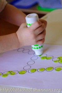 Uppercase Do-a-Dot letters.  Perfect for working on the alphabet and pre-writing skills, and we already have the dot markers!  She has tons of awesome ideas at http://totschool.shannons.org
