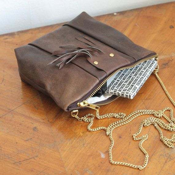 Natural leather purse / 100 repurposed brown / by nextLIFEproject