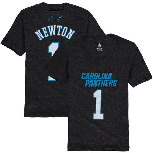 Cam Newton Carolina Panthers Girl's Youth Tri-Blend Mainliner V-Neck Name & Number T-Shirt - Black - $24.99