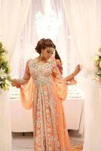 INM-368 Neue Mode Elegant Abaya Dubai Kaftans Perlen Langarm Arabische Abendkleid 2015 Orange Formale Partei Kleid Heißer Verkauf(China (Mainland))