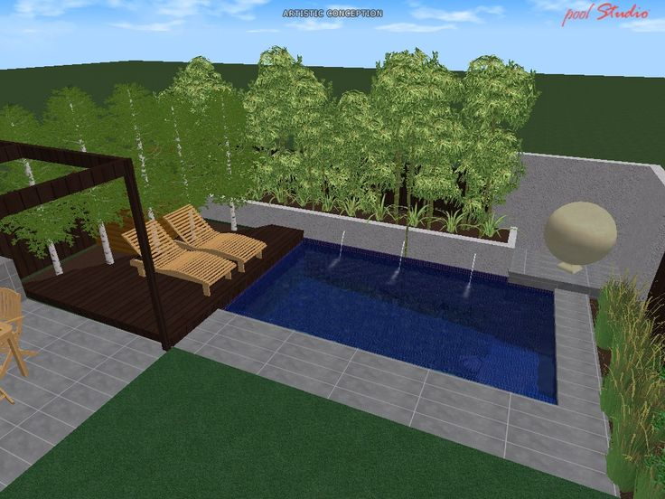 Neptune Pools Design Concept 01. Geometric. Paved Surround. Timber Decking  Sunlounging Area.