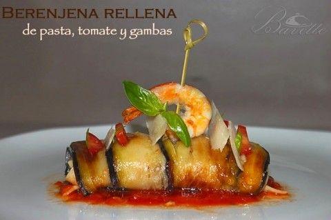 Berenjena rellena de pasta, tomate y gambasberenjena-pasta-gambas