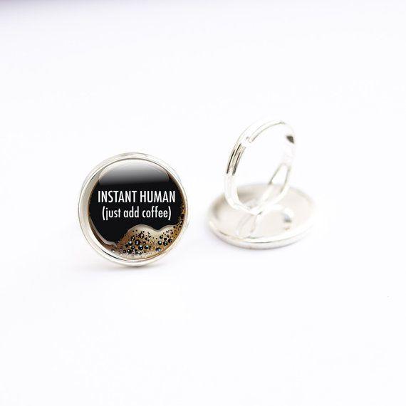 Caffè tazza anello  anello di vetro anelli  caffè di GlassCharmed