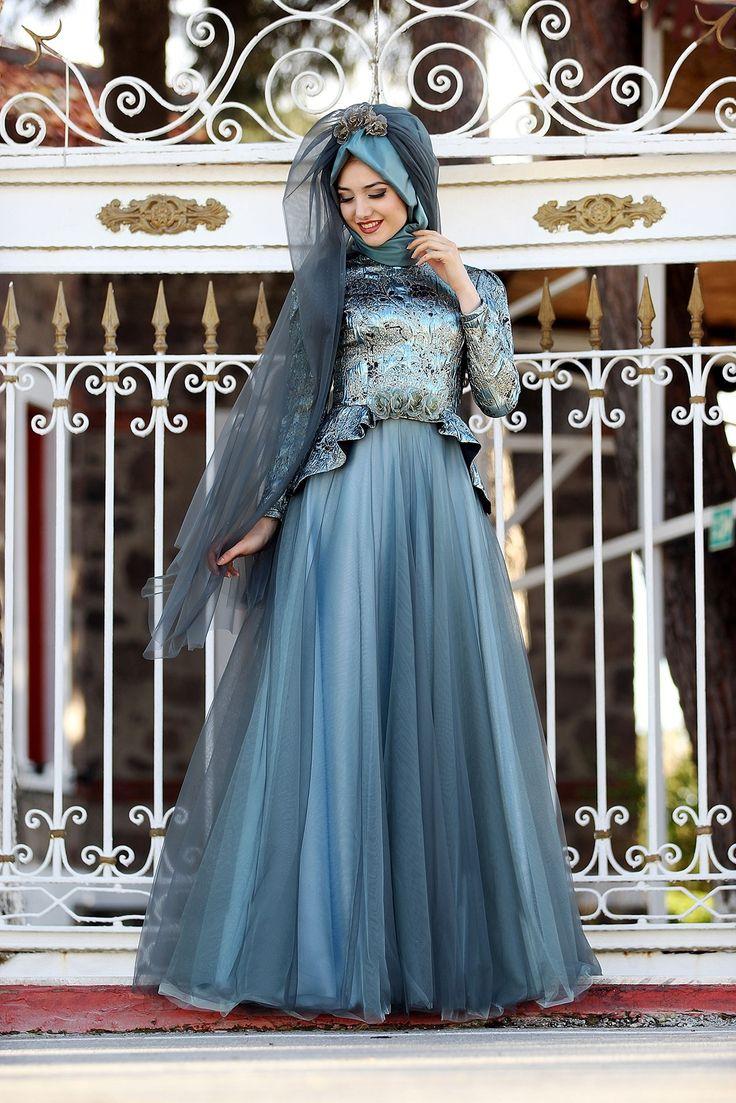 Modamiz.com | Tesettür Giyim | Çanta | Eşarp | Ayakkabı. Gamze Polat Şehrazat Abiye Mavi