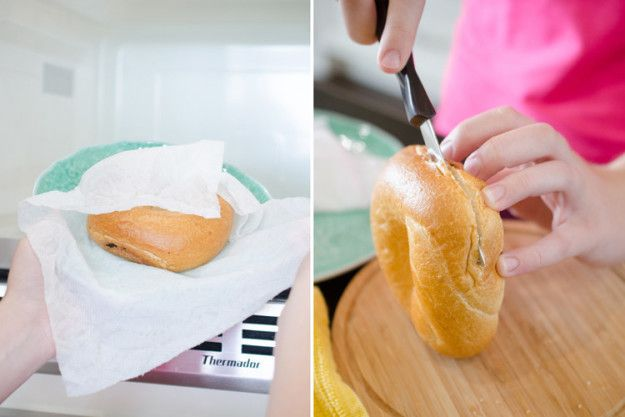 Salvage stale bread by wrapping it in a damp paper towel. Heat it up for about 20 seconds