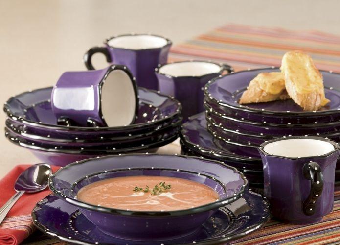 16 Pc Ruffle Dinnerware Set Purple I Love These Plates