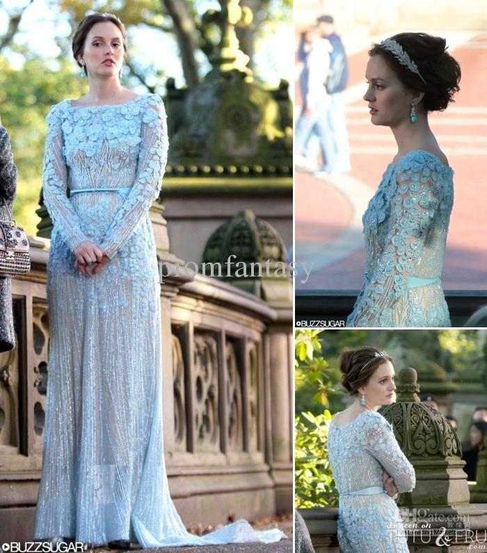 6360833735d5 2013 Gossip Girl Fashion Blair In Elie Saab Blue Wedding Dresses Sheer ...