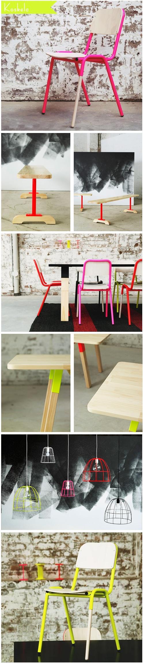 Fun neon furniture from Koskela.