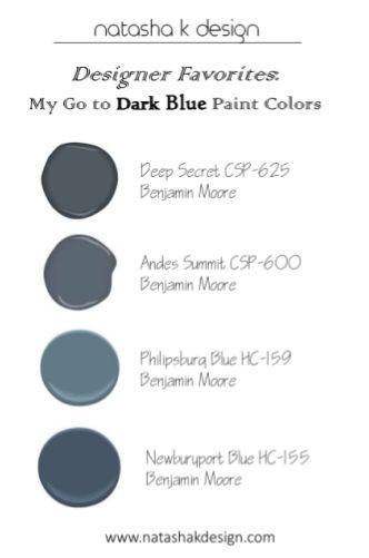 "Natasha K Design - My go to ""Dark Blue"" Paint colors! (www.natashakdesign.com)"