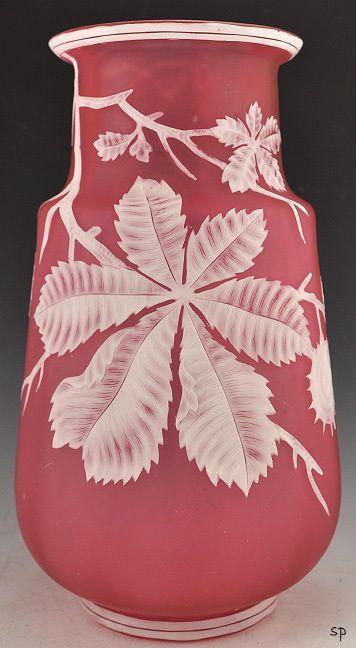 thomas webb glass   Fabulous Antique Thomas Webb Cameo Glass Vase Chestnuts   eBay