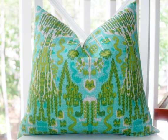 Decorative Pillow Cover - Aqua Teal Green Citrine Blue Trellis Ikat Pillow Cover - Throw Pillow