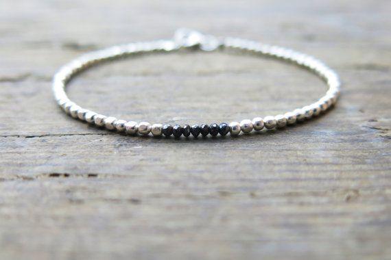 Fine silver and black diamond bracelet. Karen Hill by MarisaBecca
