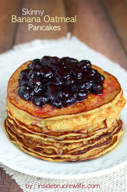 Skinny Banana Oatmeal Pancakes - a lighter option for breakfast that tastes delicious and is full of protein