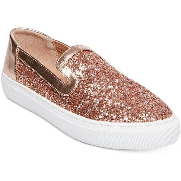 Steven By Steve Madden Kenner Slip-On Sneakers ($67) ❤ liked on Polyvore featuring shoes, sneakers, gold glitter, gold slip on sneakers, gold trainers, gold slip on shoes, gold shoes and yellow gold shoes