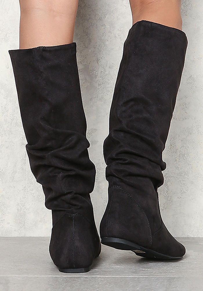 Black Suedette Ruched Knee High Boots - Sale