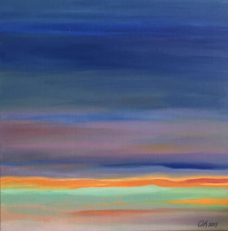 """Ivanov Gallery / Art for sale. """"Sunset"""", Ольга Кожевникова, 2015. Холст, масло/50х50см. «Sunset», Olga Kozhevnikova, 2015. Oil on canvas/50х50sm."""