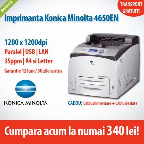 Ai nevoie de o imprimanta eficienta si fiabila?  Alege Konica Minolta PagePro 4650EN, la numai 340 de lei, acum in oferta ExpertCompany!