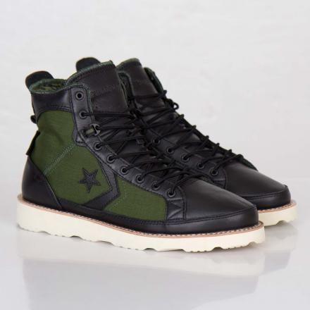 UNDEFEATED × CONVERSE PRO FIELD HI BLACK/RIFLE GREEN/ORANGE #sneaker